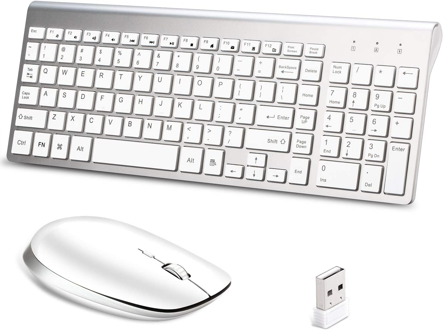 Wireless Keyboard and Mouse Combo,Lucloud 2.4GHz Ultra-Thin Portable Keyboard and Silent Mouse for PC Desktop Computer Laptop Mac Tablet (Comfortable Mouse, Sliver+White)