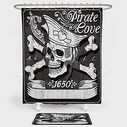 IPrint Pirate Shower Curtain And Floor Mat Combination Set Cove Flag Year Of 1650 Vintage