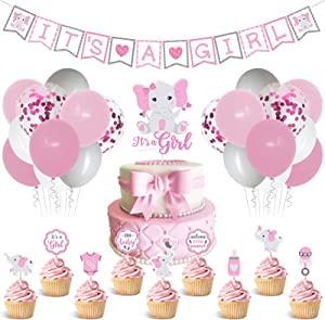 Faisdodo Elephant Baby Shower Decorations for Girl Pink Elephant, It's a Girl Banner Cake Topper Cupcake Toppers Latex Balloons Set,Pink and Gray Little Peanut Welcome Baby Girls Birthday Party Decor