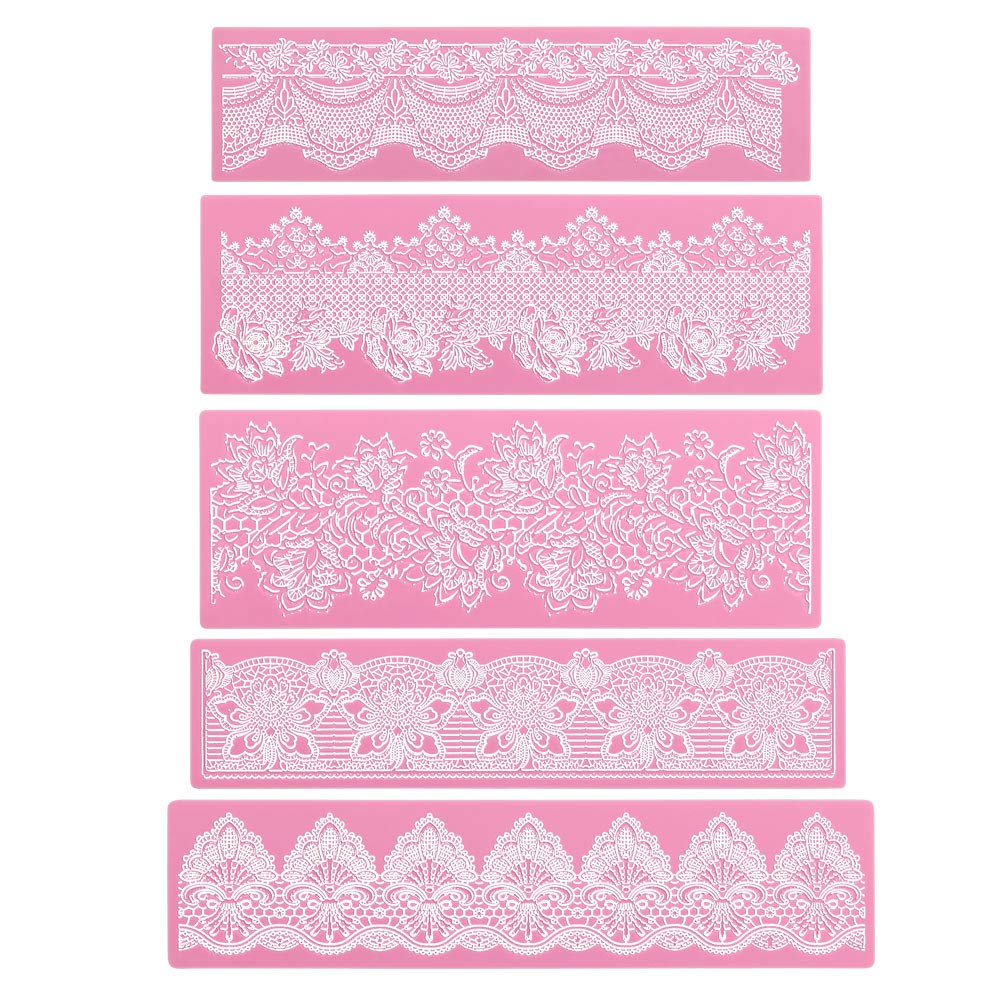 Silicone Lace Molds, Beasea 5pcs Fondant Cake Decorating Tools Lace Decoration Mat Flower Pattern Molds Sugar Craft Tools - Pink