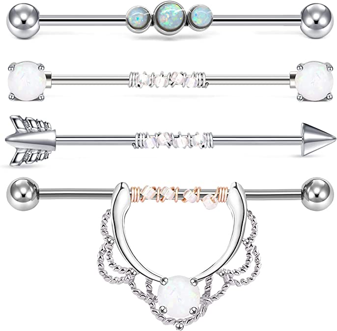 14G Silver Crystals Paved Moon with Center Stone 38MM Industrial Barbell Industrial Piercing Ear Barbells