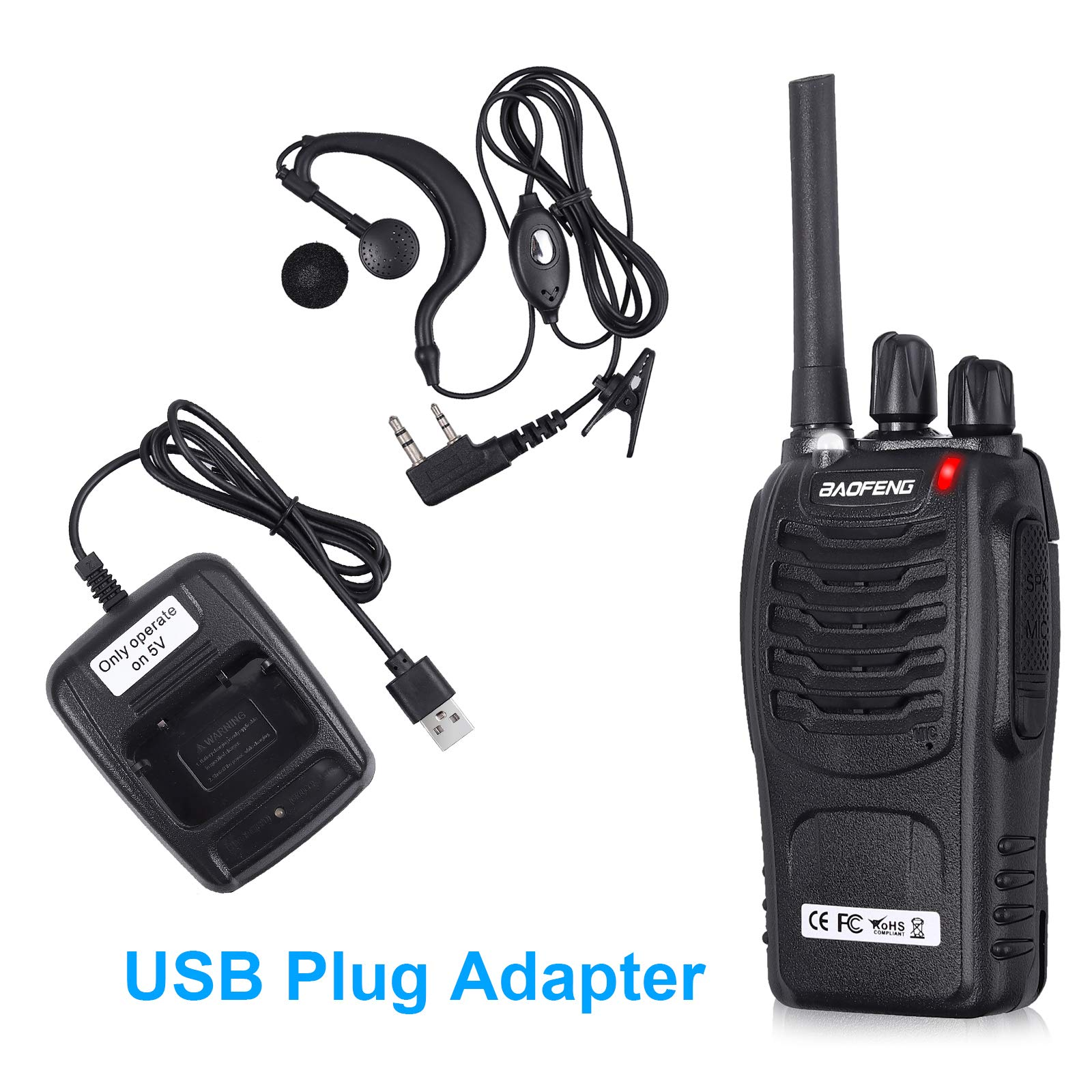Neoteck 2 PCS Walkie Talkies Long Range 16 Channel 2 Way Radio FRS462MHz Walky Talky Rechargeable with USB Charger Original Earpieces for Field Survival Biking Hiking by Neoteck (Image #4)