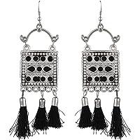 Efulgenz Boho Vintage Antique Tribal Indian Oxidized Silver Silk Thread Tassel Dangle Statement Earrings Jewelry Set