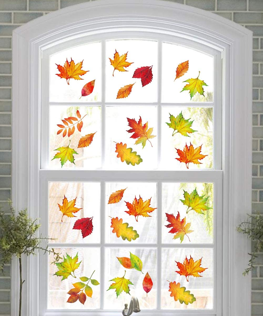 12PCS Fall Leaves Window Clings   Thanksgiving Maple Decorations Autumn  Decals Party Decor Ornaments