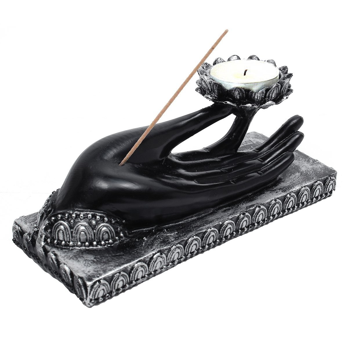 Resin Tibet Buddha Hand Tealight Candle Holder Statue Candlestick Meditation Candle Tray Home Office Decoration Crafts 18cm Katoot