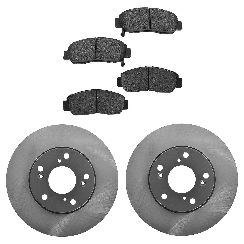 Front Coated Disc Rotors /& Semi-Metallic Brake Pads Fits Honda Civic