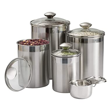 Beautiful Canisters Sets for the Kitchen Counter, 8-Piece Stainless Steel, Medium Sized with Glass Lids and Measuring Cups - SilverOnyx Tea Coffee Sugar Flour Canisters - 8pc Glass Lids