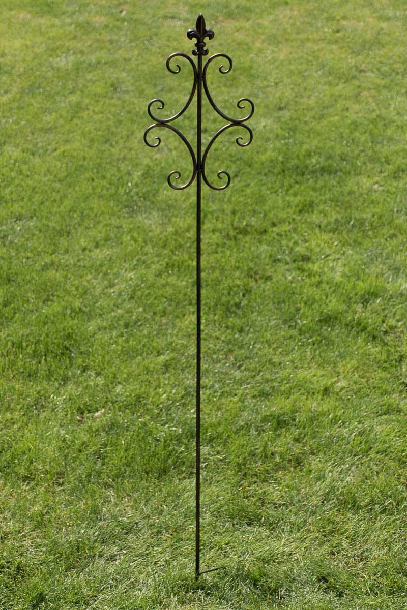CLP Plant-Support Stick BENITA, made of iron, with beautiful details, ideal for climbing plants, height 148 cm, choose from up to 6 colours antique white