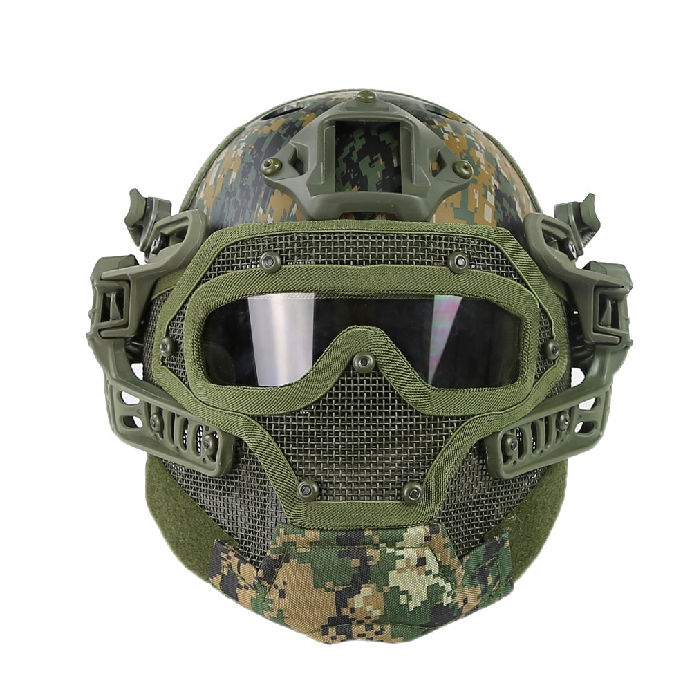 HYOUT Fast Tactical Helmet Combined with Full Mask and Goggles for Airsoft Paintball CS (DW) by HYOUT