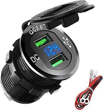 Motocicleta o Barco Motos USB de Cargador QC3.0 Cargador R/ápida de Dos Puertos USB Aluminio 12V 24V 36W Pantalla LED Digital Para Adaptador Cargador para Coches