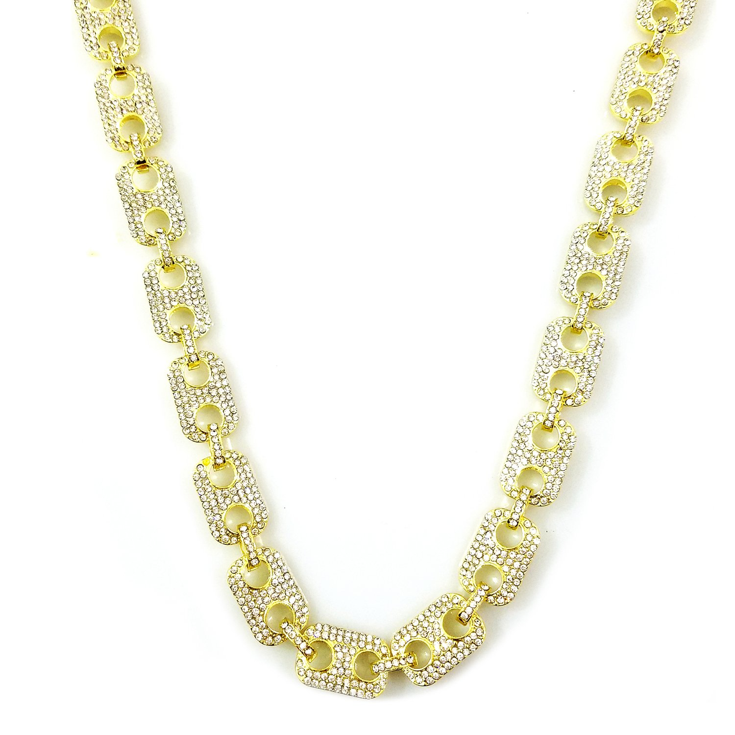 HH Bling Empire Mens Iced Out Hip Hop Silver Gold Faux Diamond Paved Puffed  Marine Linked Chain Necklace 24