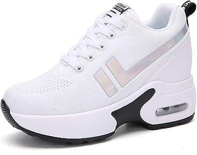 AONEGOLD Zapatillas de Deportivas Zapatos cuña Mujer Running Sneakers Interior Zapatos Casual Negro Blanco Negro Rojo: Amazon.es: Zapatos y complementos