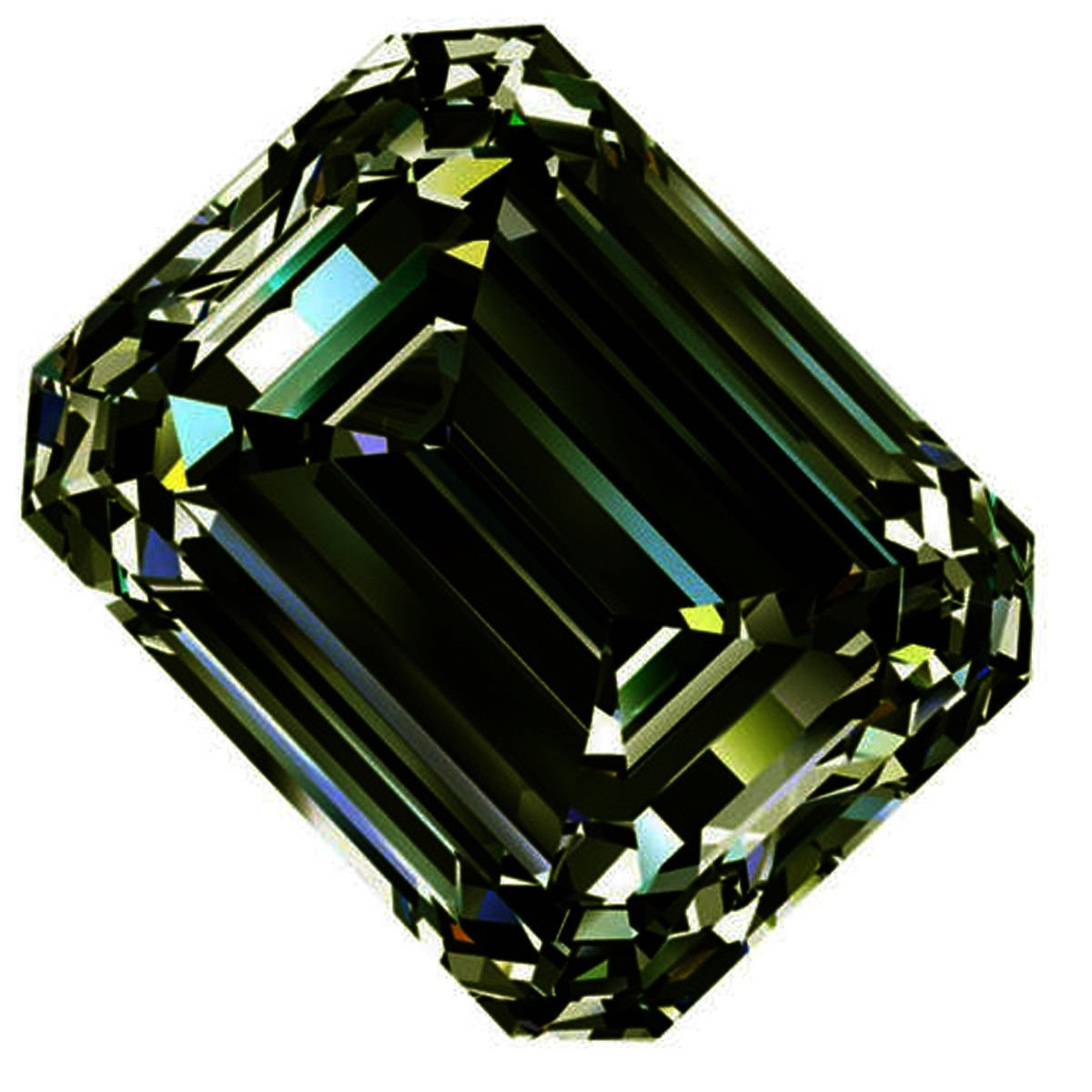 RINGJEWEL 1.49 ct VVS1 Emerald Cut Real Loose Moissanite Use 4 Pendant/Ring Dark Blueish Green Color Stone