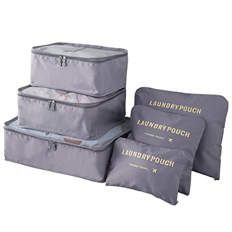 BlueBeach® Set de 6 Organizadores de viajes Cubos de embalaje Bolsa de lavandería Bolsas de compresión de equipaje Bolsa en el organizador de bolsa ...