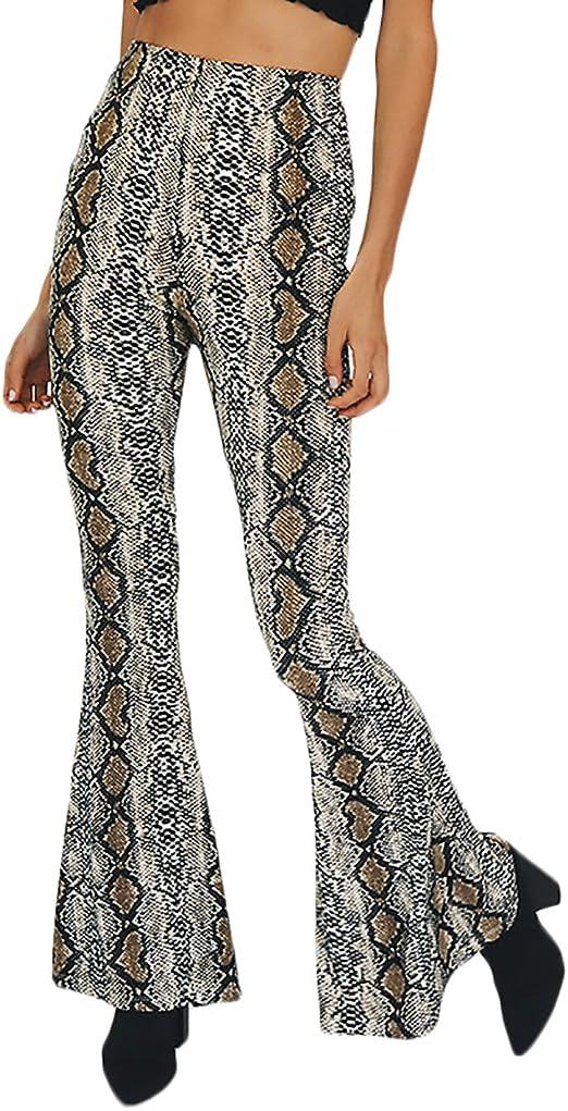 BOLAWOO Mujer Pantalon Hippie Acampanados De Cintura Alta ...