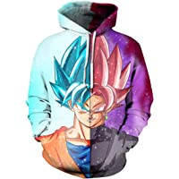 Leezeshaw Unisex Hoodies Dragon Ball Z Goku 3D Japanese Anime Print Pullover Hoodie Sweatshirt with Kangaroo Pocket