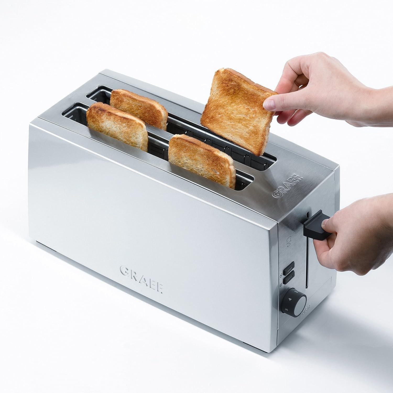 Graef Matt Finish Stainless Steel 4 Slice Long Slot Toaster