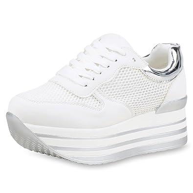 a81a28d9c1e1aa SCARPE VITA Damen Plateau Sneaker Lack Turnschuhe Freizeit Schuhe Schnürer  161441 Weiss 38