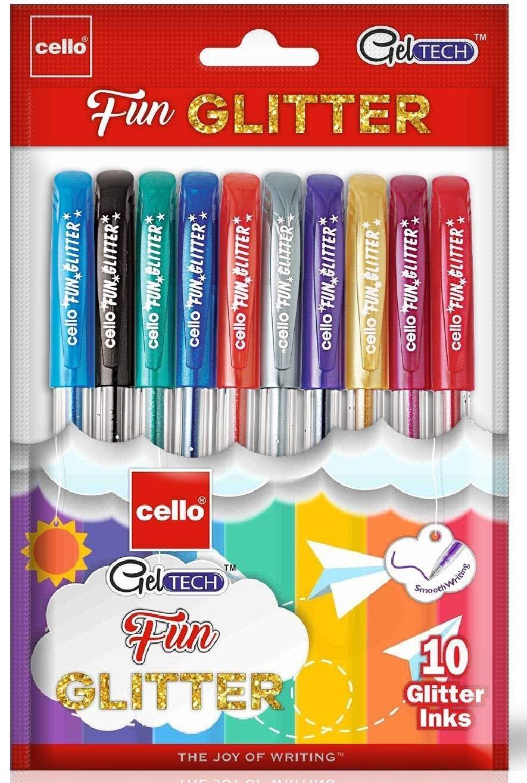 Cello Geltech Fun Glitter Gel Pen - Pack of 10 (Multicolor)