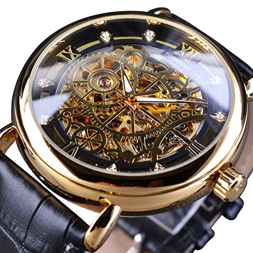 Amazon.com: Reloj mecánico clásico con diseño de rueda de ...