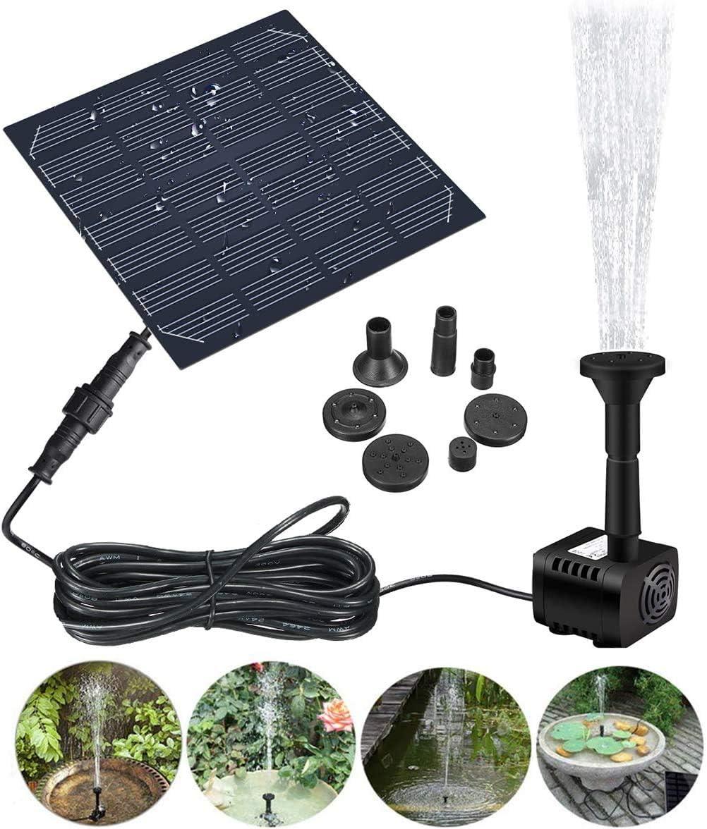 GOCHANGE Bomba de Fuente Solar, 1.2W 180L / H Bomba de Fuente de Agua de Panel Solar, Para Jardín, Piscina,Acuario,Fuente, con 4 Boquillas