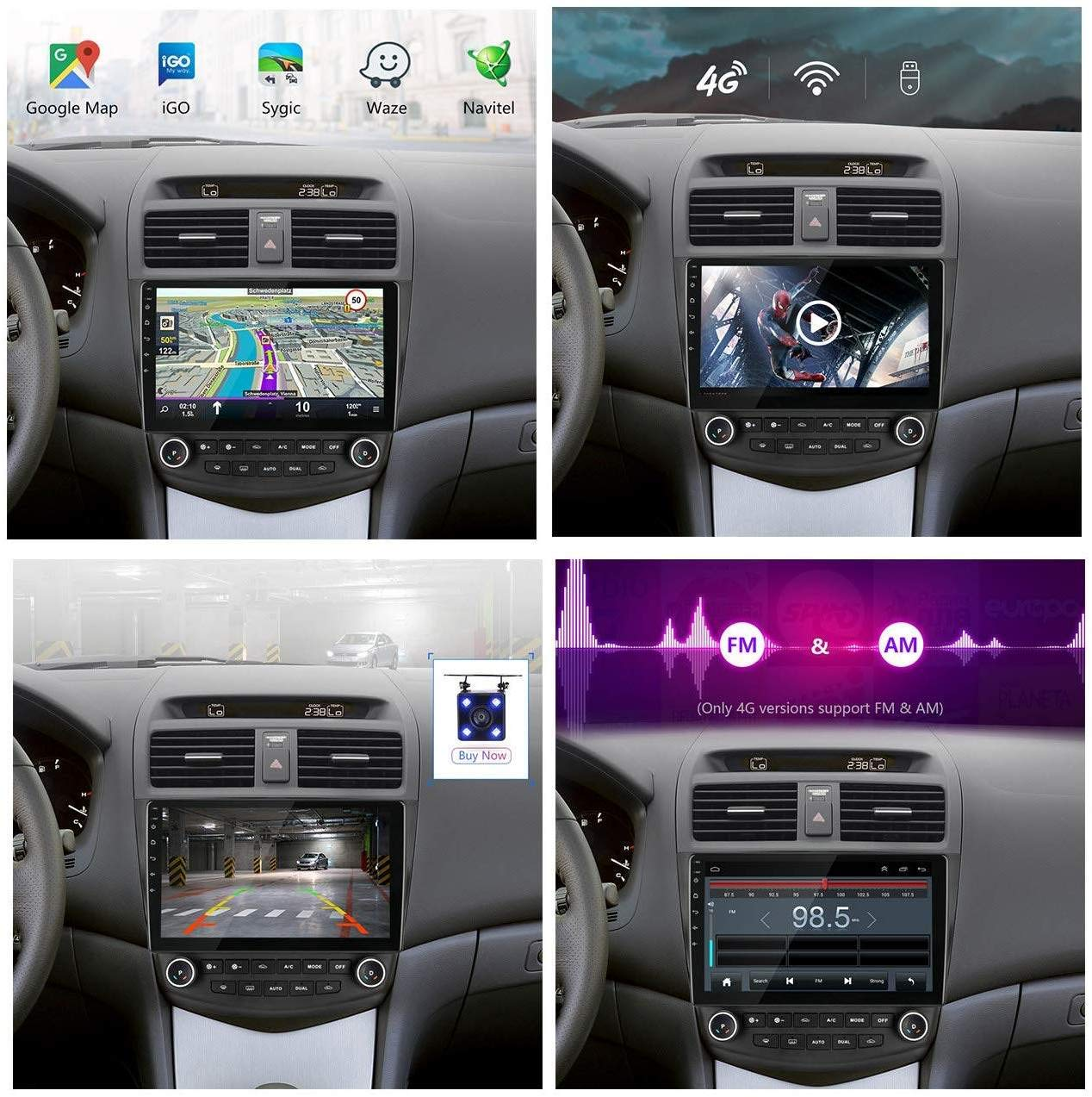 GLFDYC Android 8.1 GPS Navigation Stereo Radio 10 1080P Pantalla T/áctil Completa Reproductor Multimedia Control Volante Hands-Free Calls SWC USB,4Cores:4G+WiFi1G+16G para Honda Accord 7 2005-2008