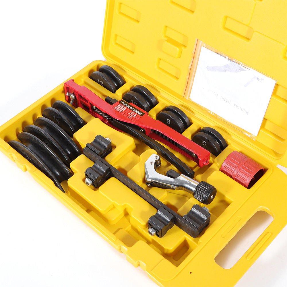 OUBAYLEW Manual Doblador de Tubo Palanca Tipo Herramienta de Mano de Flexión de Tubería de Acero Carbono 1/4-7/8