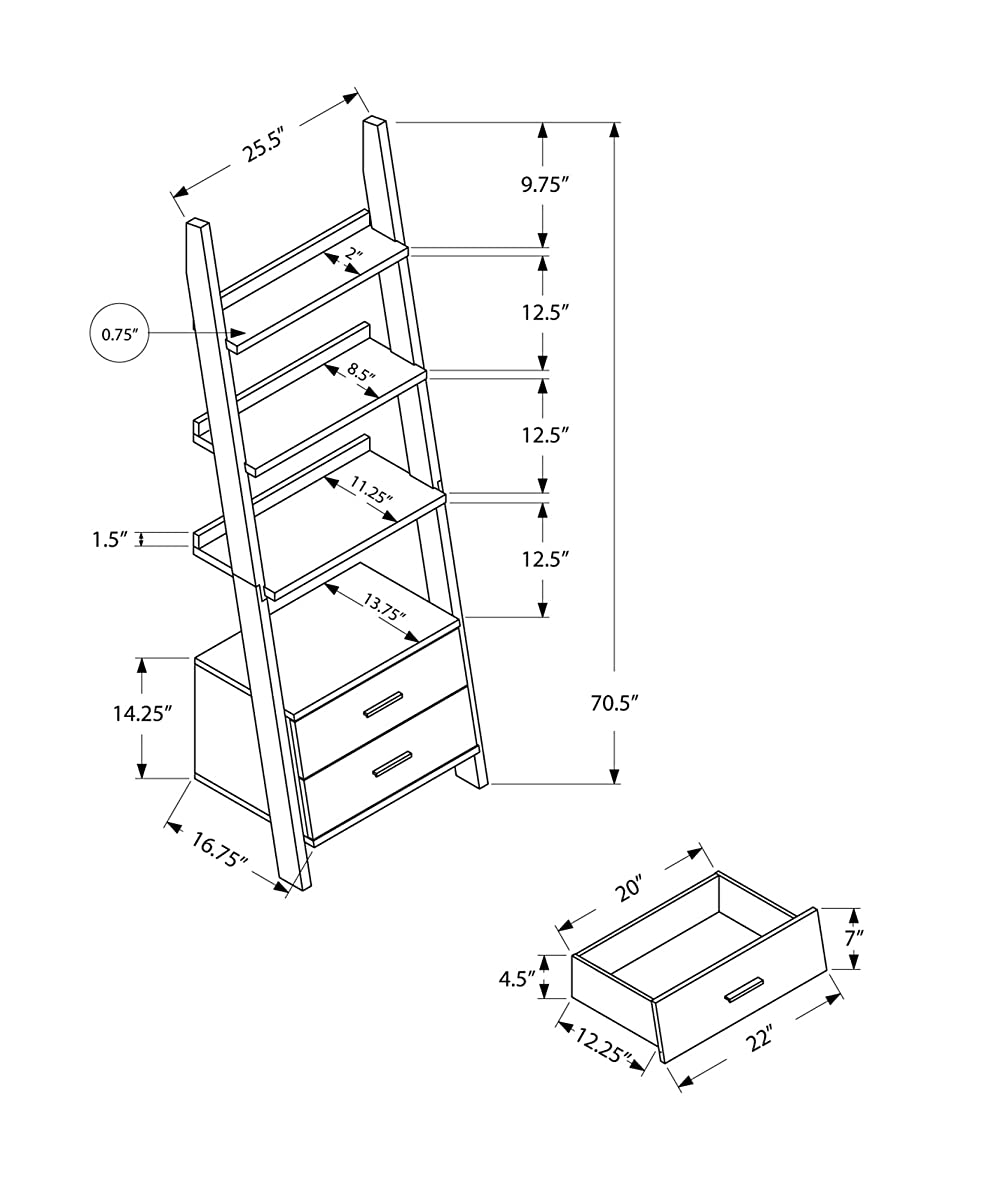 """Monarch Specialties I 2562, Bookcase, Ladder with 2-Storage Drawers, White, 69""""H"""