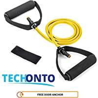 Techonto Resistance Toning Tube with Door Anchor for Gym Workouts, Home Workout, for Men and Women.
