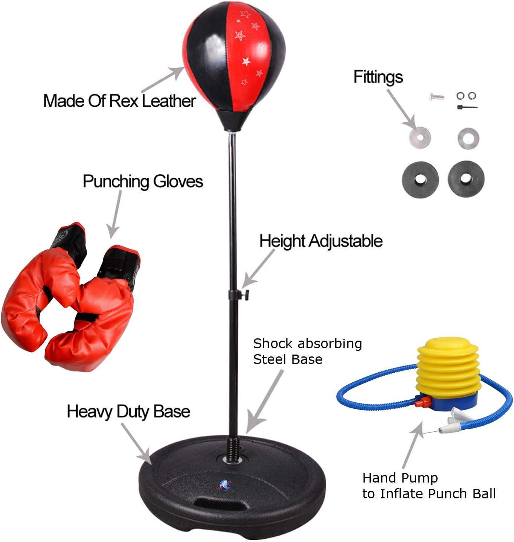 Set BOXE JUNIOR Bambini Borsa Punch Ball /& Mitts Guanti KIT Bambini indipendente