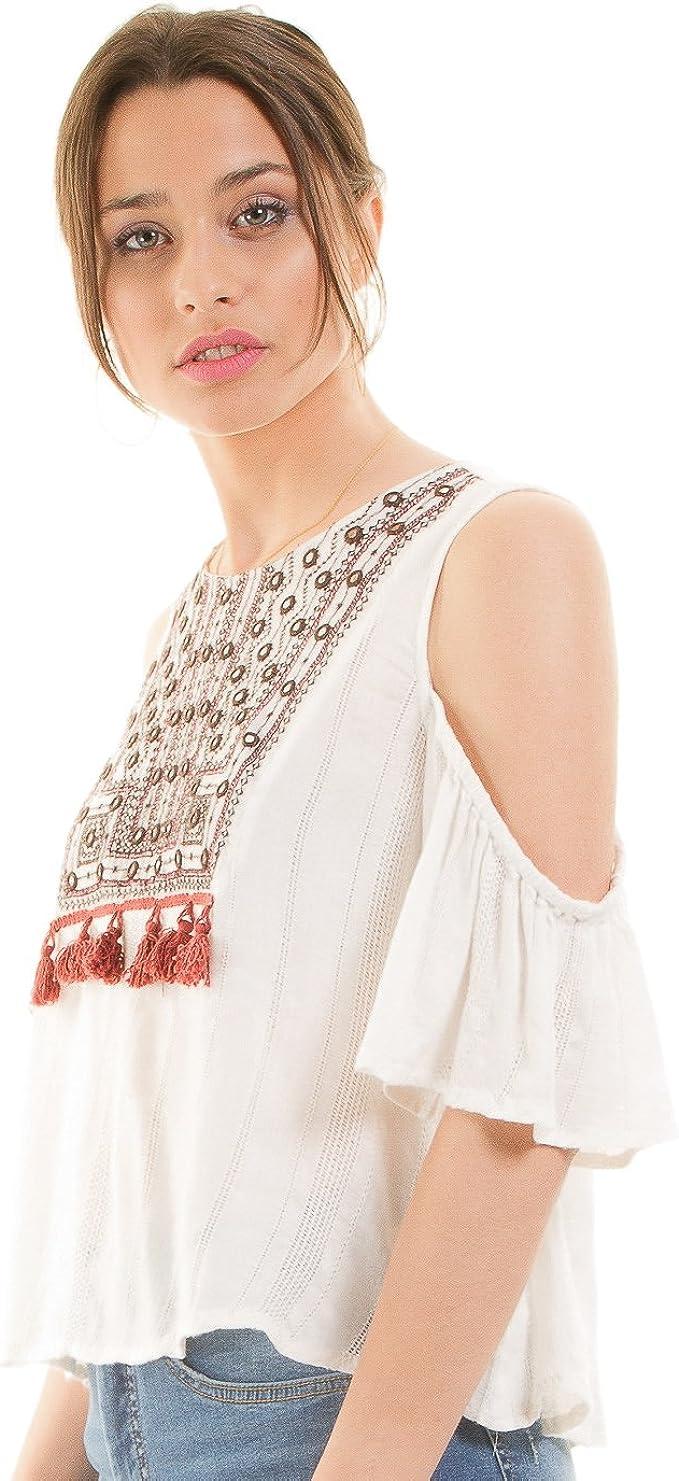 Tiffosi Blusa Blanca étnica ibicenca (M - Blanco): Amazon.es: Ropa y accesorios