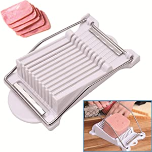 Spam Slicer Luncheon Meat Slicer Stainless Steel Durable Egg Fruit Slicer Soft Food Cheese Sushi Cutter Canned Meat Cutting Machine with 10 Wires Stainless Steel Kitchen Splitter