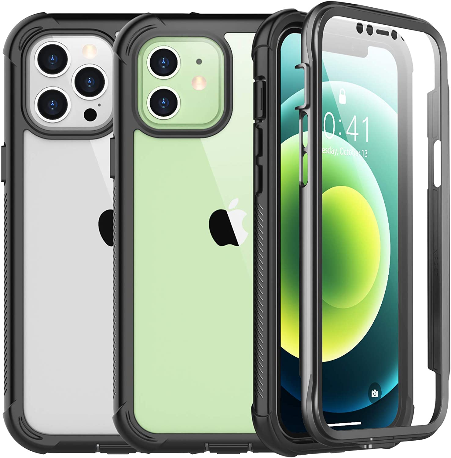 SPIDERCASE for iPhone 12 Case/for iPhone 12 Pro Case, Built-in Screen Protector, Full Protective Case, Camera&Screen Protection, Anti-Scratched Rugged Case for iPhone 12/for iPhone 12 Pro 2020