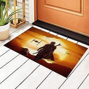 Manda-lorian Baby Yo-da Star War Door Mat Outdoor Rug Non Slip PVC Doormat Front Indoor Outdoor Doormats PVC Backing/Bathroom/Kitchen/Bedroom/Entryway Floor Mats Carpet 23.6x15.7 Inch