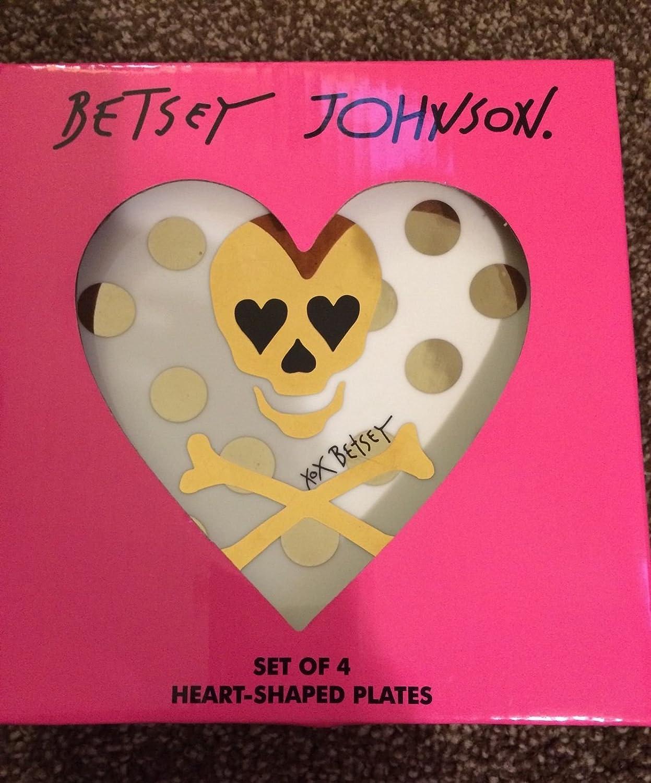 Amazon.com | Set of 4 Betsey Johnson Porcelain Heart-Shaped Dessert Plates Dessert Plates & Amazon.com | Set of 4 Betsey Johnson Porcelain Heart-Shaped Dessert ...