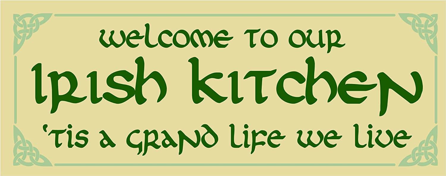 My Word! Welcome to Our Irish Kitchen - 4x10 Hanging Wooden Sign