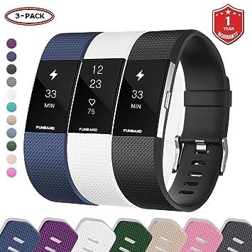 Bracelet Fitbit Charge 2, FunBand® Bande en Silicone Souple Sangle de Remplacement Reglables Sport