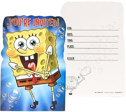 Amazon Com Amscan Unisex Adult Spongebob Invitations Black Medium