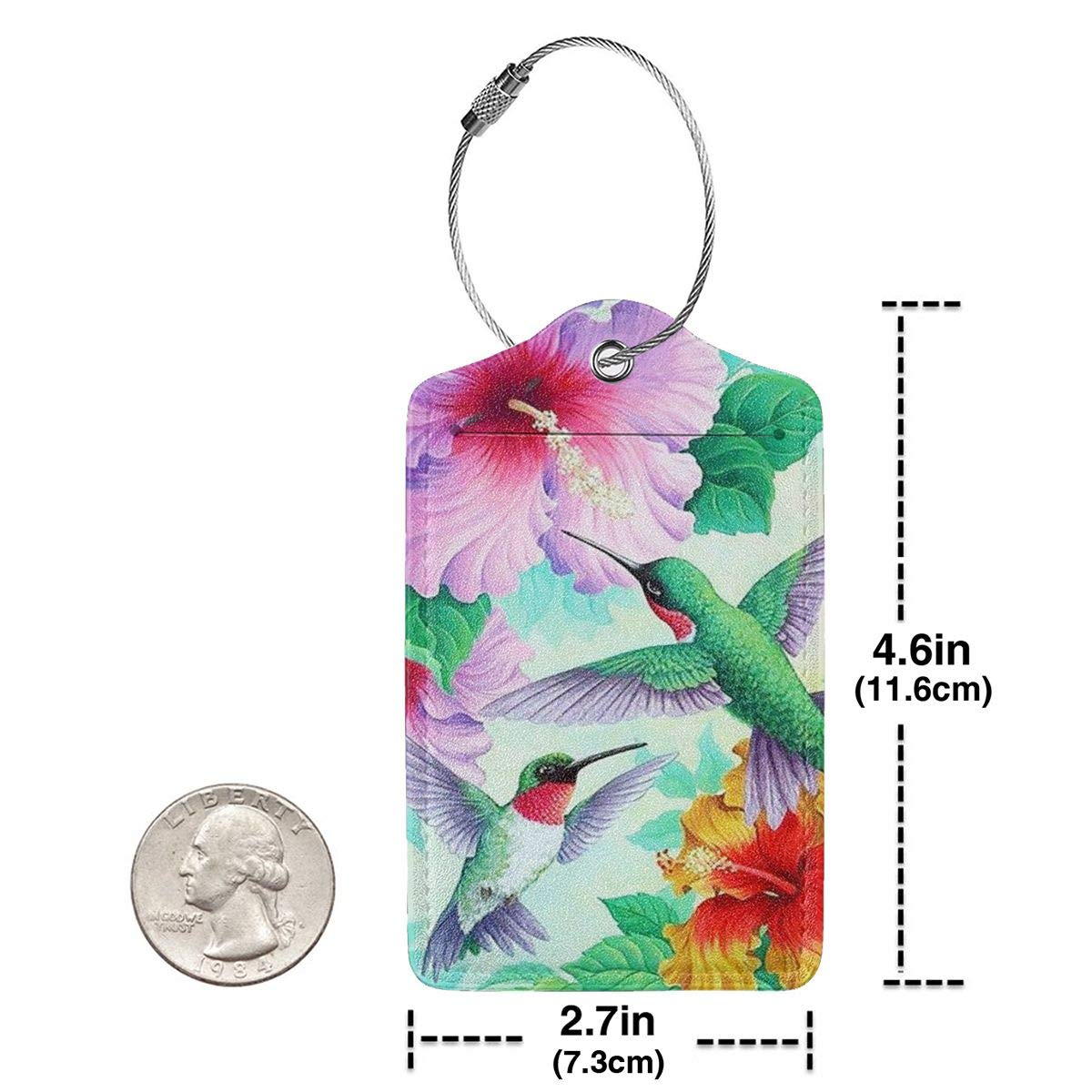 Spring Hummingbirds Hibiscus Flowers Summer Welcome Leather Luggage Tags Personalized Suitcase Tag With Privacy Flap