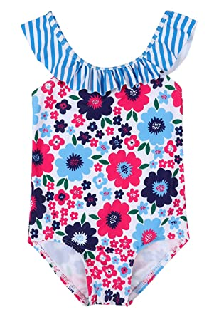 53e49c7251 ALove Girls Ruffle One Piece Swimsuits Floral Swimming Suits Cute Swimwear  3T