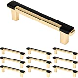 "WELLOCKS Cabinet Handles Solid Pulls 10 Pack 3.8"" Hole Centers, Solid Metal Drawer Pulls Bar Matte Black, Classic Cabinet Har"