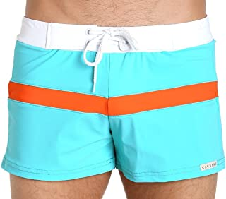 product image for Sauvage Mens Sport Retro Lycra Wimmer Medium Teal with Orange Stripe