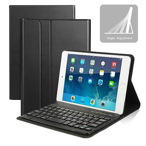 Funda Protectora de Cuero con Teclado Bluetooth AZERTY para Apple iPad Mini 4, Caja de