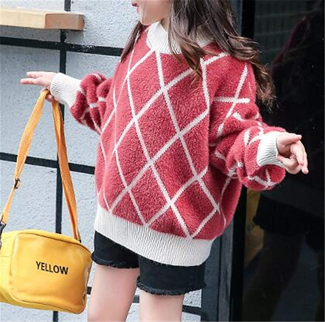 Pandapang Girls Knitted Classic Jumper Cute Pullover Striped Sweater
