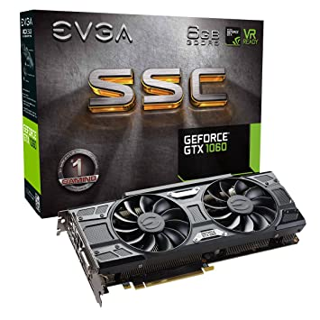 EVGA GeForce GTX 1060 SSC Gaming ACX 3.0 GeForce GTX 1060 6GB GDDR5 Tarjetas gráficas, NVIDIA, GeForce GTX 1060, 7680 x 4320 píxeles, 1607 MHz, 1835 ...