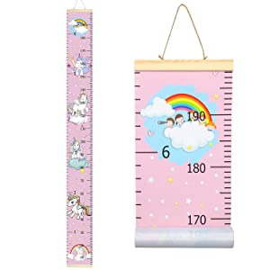 "Sylfairy Growth Chart, Kids Wall Ruler Removable Height Measure Chart for Boys Girls Growth Ruler Unicorn Wall Room Decoration 79"" x 7.9""(Pink Unicorn)"