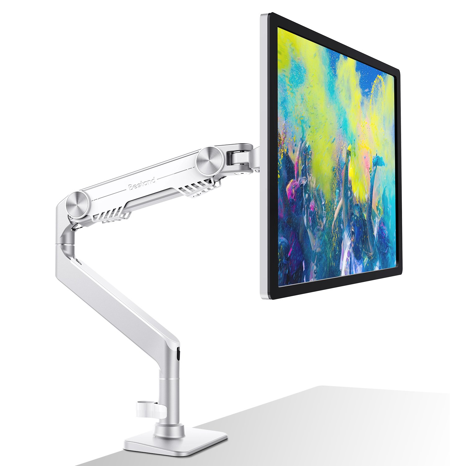 Bestand Monitor Wall Mount Monitor Stand LCD Screen Gas Spring Single Monitor Arm-Aluminum Lift Engine Arm Mount, Grey S3-Grey