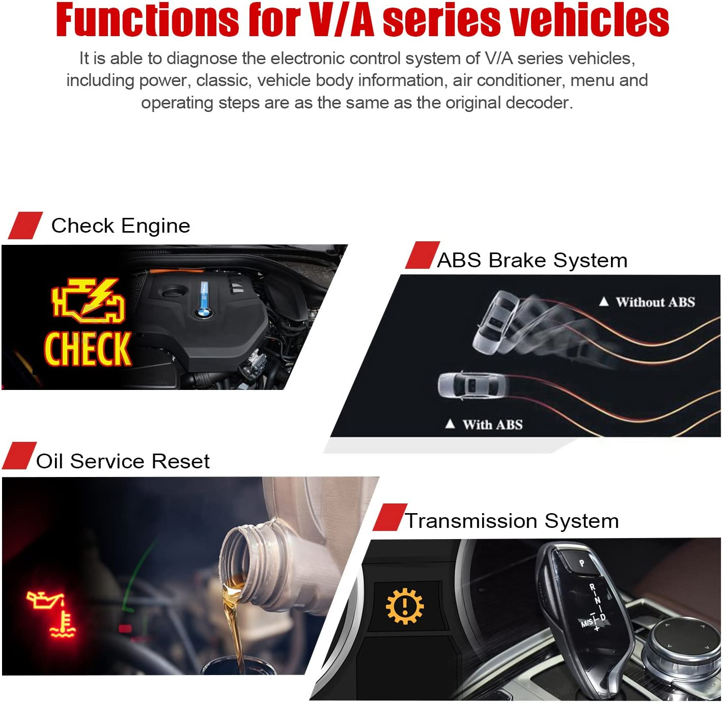 OBD2 Car Scanner VD500 EPB Oil TPS SRS ABS SAS Gearbox ESP TPA Check Code Reader