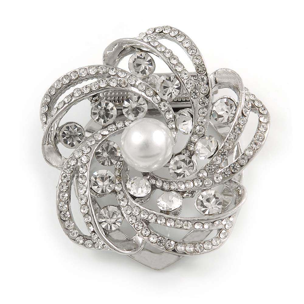 Avalaya Diamante Faux Pearl Flower Scarf Pin//Brooch in Silver Tone 35mm D