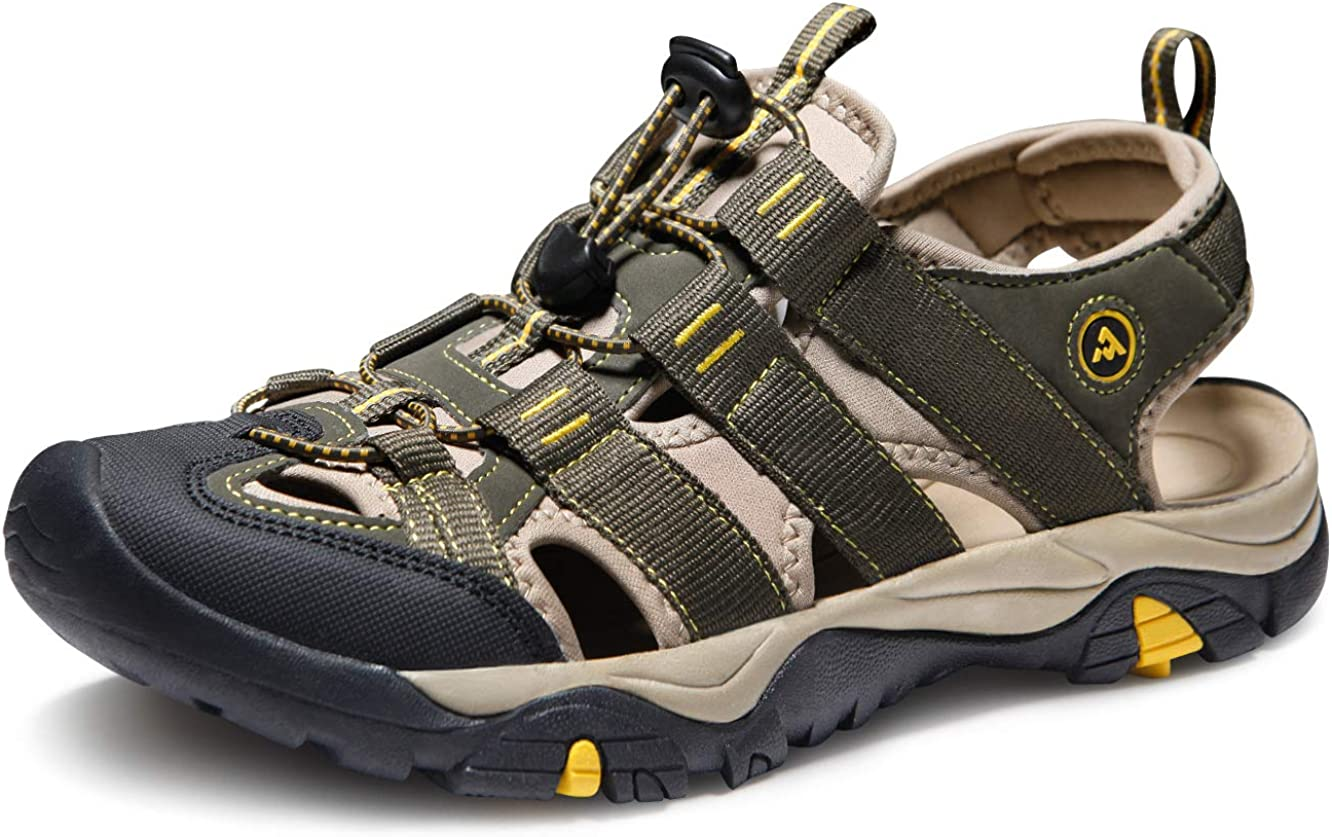 ATIKA Men's Outdoor Hiking Sandals, Closed Toe Athletic Sport Sandals, Lightweight Trail Walking Sandals, Summer Water Shoes
